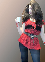 Pic of Beautiful Transgender Girl Modeling Red and Black