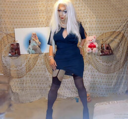 Pic of Beautiful Transgender Girl Modeling Blue Dress